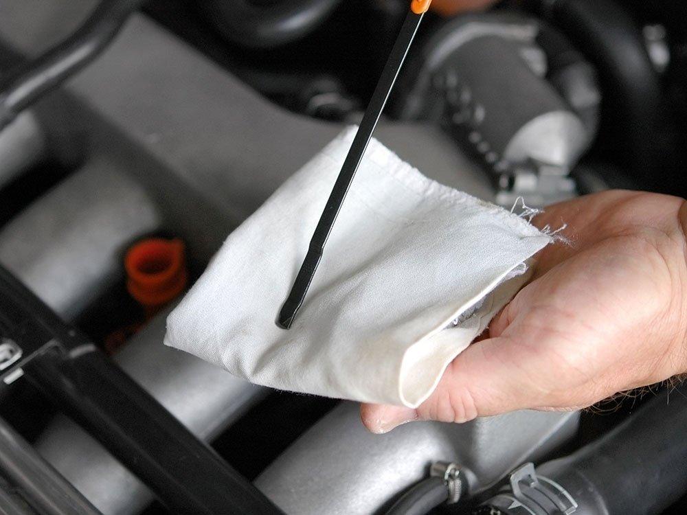 Trageți joja de ulei pentru a verifica nivelul uleiului din motor.